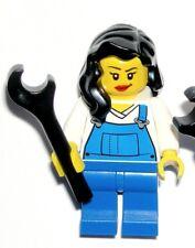 LEGO MRS. FIX-IT MINIFIGURE City Female Girl Black Hair/Overall/Mechanic/Plumber