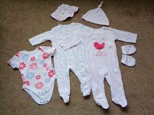 F&F Baby 2 Sleepsuits, 1 Bodysuit, 2 Hats, 1 Pair Scratch Mitts. Age 3-6 months.
