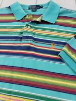 POLO RALPH LAUREN S/S 100% Cotton Shirt Bright Multicolor Stripe Men's XL  I87