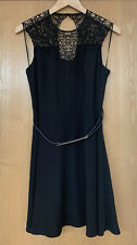 OASIS Black Lace Party Dress Keyhole Back Belted Evening BNWT Sz 14 New Cock
