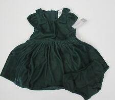 NWT Carter's Infant Girl Green Velvet Shirred Holiday Party Dress Sz 6m NEW $40