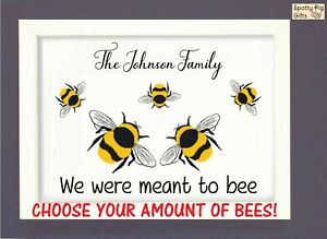 Personalised Bee Print Poster Picture Wall Art Framed Family A3 A4 CHOOSE AMOUNT