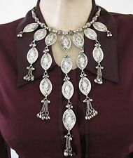 Statement Fringe Necklace Handcrafted Vintage Silver Gypsy Boho Festival Jewelry
