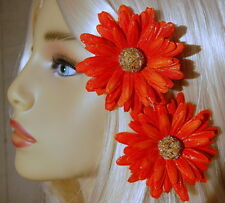 BEADED SMALL ORANGE SPARKLE DAISY CLIP SET, DAISY HAIR CLIP SET