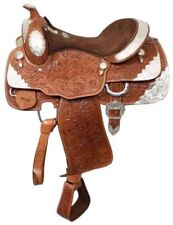 "Fully Tooled Western Pleasure Silver Show Saddle 16"" Medium Oil Leather SemiQHB"