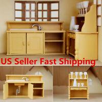 Plastic Kitchen Cabinet Miniature DollHouse Furniture Room Items Set Kids Toy S