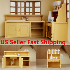 Miniature Dollhouse Furniture Cabinets Set Plastic Kitchen Dining Room Decor