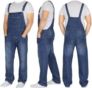 Mens Denim Jeans Dungarees Blue Overalls Jumpsuit Bib Pants All waist Sizes