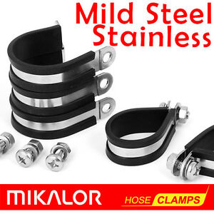 Zinc Plated Mild Steel - or - Stainless Steel   Rubber Lined P Clips   Mikalor  