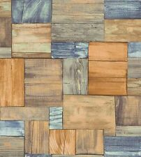 Erismann Wallpaper - Wooden Boards / Planks - Blue & Orange - Textured 7354-04