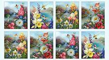 "Hummingbird Bouquet Panel-Elizabeth Studios-Blue B/G-Approx. 23"" x 43"""