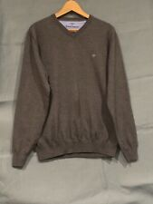 Men's Grey FYNCH-HATTON V-Neck Jumper Superfine Cotton Size Large