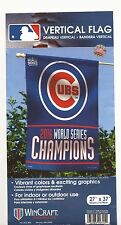 """2016 WORLD SERIES CHAMPIONS Chicago Cubs Vertical Flag 27"""" x 37"""" Made in USA!"""