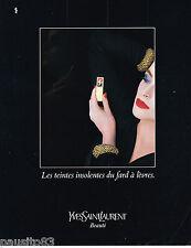 PUBLICITE ADVERTISING 055  1984  YVES SAINT LAURENT  cosmétiques  rouge à lèvre
