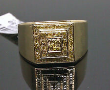 10K Men's Yellow Gold Ring With Yellow Diamond 0.25CT /Band, Pinky