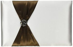 """Lillian Rose Wedding Bride Jeweled Brown 10"""" Guest Book GB800BR-D DEFECT"""