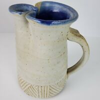 Vintage MCM Unique Handmade Glazed Stoneware Pottery Pitcher Server 9 In Tall