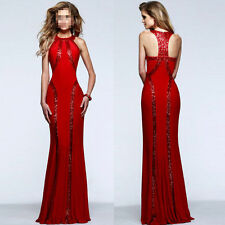 X Women Red Long Sequin Trim Jersey Gown Formal Prom Ball Cocktail Wedding Dress