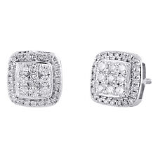 10K White Gold Real Diamond Cushion Shape Cluster Studs 9mm Pave Earrings 1/2 CT