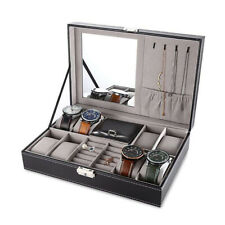 8+2 Slot Watch Box Display Case Leather Necklace Earring Jewelry Box with Mirror