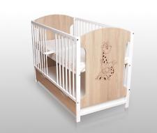 Babybett Gitterbett Kinderbett 120x60 Sonoma/Weiß mit Matratze und Schublade NEU