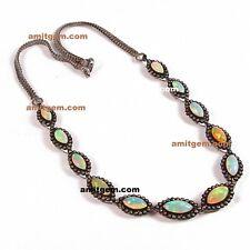 925 sterling Silver Diamond Ethiopian Fire Opal Necklace Women Jewelry Set 601