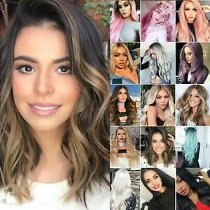 Women Real Medium Long Straight Hair Wigs w/Bangs Party Cosplay Natural Full Wig