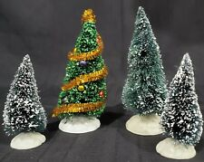 Lemax SPARKLING GREEN CHRISTMAS TREE & 3 BOTTLE BRUSH Village Accessory LOT of 4