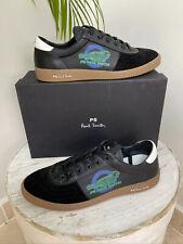 Designer Paul Smith Black Calf Leather Suede LOCKIE Trainers Sneakers UK9 £195