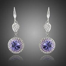 Platinum Plated Purple Swiss Cubic Zirconia Paved Dangle Drop Earrings (E692-34)