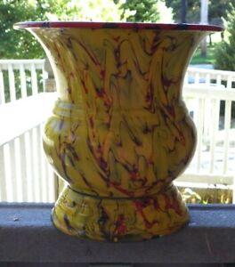 Vintage Enamelware Graniteware Large Vase Czechoslovakia