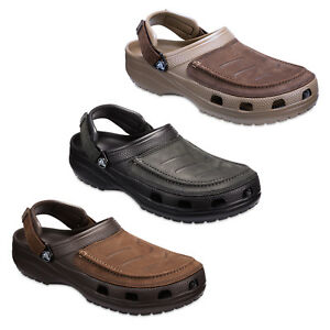 Crocs Yukon Vista Clogs Mens Leather Walking Adjustable Comfort Sandals Shoes