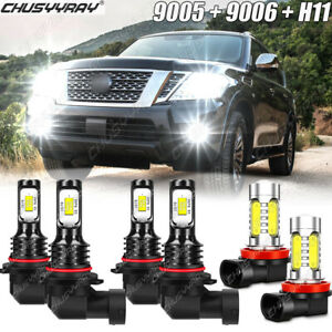 For Nissan Armada 2011 2012 2013 2014 2015 LED Headlight High Lo Fog Light Bulbs