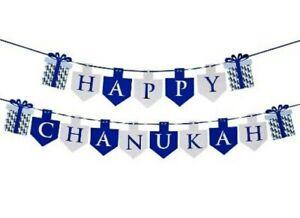 Happy Chanukah Banner 11.5'L Blue Silver Foil Paper Celebration Decoration Party