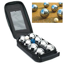8 STEEL FRENCH BOULES SET PETANQUE BALLS GARDEN SUMMER GAME