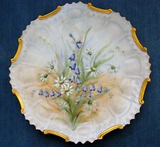 Vintage Hand Painted Decorative Plate - Blue Bells and Daisy's - Artist Signed