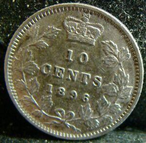 Canada 1896 Ten Cents; Obv 6 *Graded VF-30*