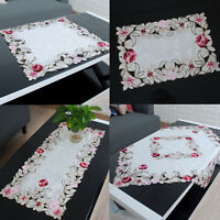 Embroidered Hollow Rose Tablecloth Doily Table Cover Wedding Party Home Decor