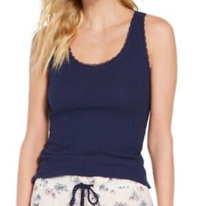 Jenni Juniors XS Sleep Tank Top Navy Blue Ribbed Knit Lace Trim Womens Lounge