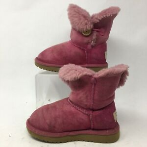 UGG Toddler 10 Bailey Button Classic Shearling Booties Pink Suede Wool 5991T