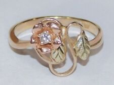 Black Hills Gold 10 kt 12 kt Diamond Rose Leaves Ring Size 6 1/2