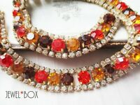 VINTAGE 1980S SPECTACULAR THREE COLOUR SPICE CRYSTAL RHINESTONE NECKLACE GIFT