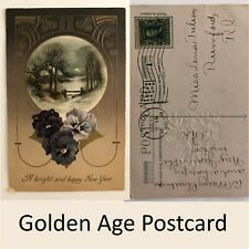 A Bright & Happy New Year Emboss Postcard 1 Cent Franklin Stamp 1908 Flag Cancel