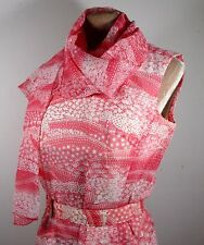Vintage Womens 70s Pink Floral Print Dress SMALL Size 10 (34-36) w/ Belt&Scarf