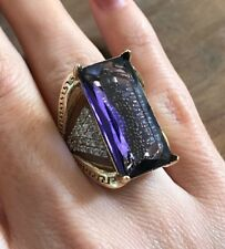 925 Sterling Silver Handmade Antique Turkish Amethyst Ladies Ring Size 7-10