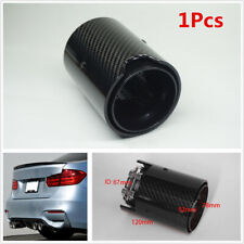 1X 67mm inlet Glossy Black Carbon Fiber Stainless Steel Exhaust Pipe Tip For BMW