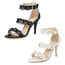Sexy Ladies Wedding Bridal Stud Peep Toe Hollow Out Ankle Strap Sandals be015