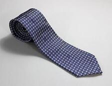 "Chanel Paris New Blue White Geometric Pattern Hand Made 100% Silk Tie 3 3/8"""