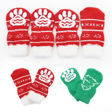 Non-Slip Dog Socks Knitted Christmas Socks Paw Print for Small Medium Large Dogs