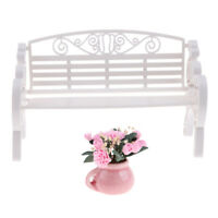 2x 1/12 Miniature Wooden Bench and Flower for Doll House Supplies Scenery